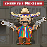 Fictional cartoon character - cheerful mexican. Fictional cartoon character of Wild West - cheerful mexican Royalty Free Stock Photo