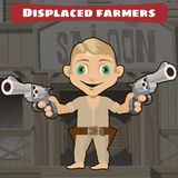 Fictional cartoon character -  displaced farmers Stock Images