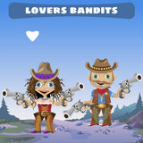 Fictional cartoon character - lovers bandits. Fictional cartoon character of Wild West - lovers bandits Royalty Free Stock Images