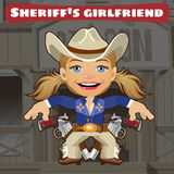 Fictional cartoon character - sheriffs girlfriend. Wild West fictional cartoon character - sheriffs girlfriend Royalty Free Stock Photography