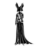 Fictional character silhouette. Illustration of a fictional character with clothes inspired by a medieval costume, black decorated silhouette isolated on white Royalty Free Stock Photos