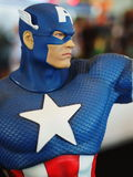 Fictional character superhero Captain America. BANGKOK, THAILAND - MAY 3, 2015: Fictional character superhero Captain America on the last day of Thailand Comic royalty free stock photography