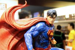 Fictional Character of Superman action figures from DC movies and comic. KUALA LUMPUR, MALAYSIA -APRIL 24, 2018: Selected focused fictional character of stock image