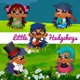 Fictional characters small hedgehogs in a human. Manner Royalty Free Stock Photography