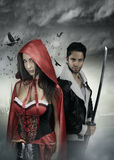 Fictional characters - two mysterious people Stock Photography