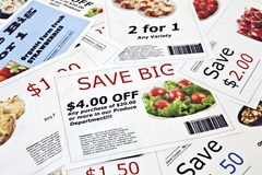 Fictional Coupon Background. Fake coupon background.  All coupons were created by the photographer.  Images in the coupons are the photographers work and are Stock Images