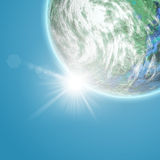 Fictional Earth planet against a blue sky. 3D background with fictional Earth planet against a blue sky Royalty Free Stock Images