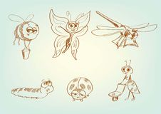 Fictional fantastic characters. Set of vector sketches Royalty Free Stock Images