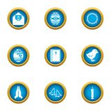 Fictional icons set, flat style. Fictional icons set. Flat set of 9 fictional vector icons for web isolated on white background royalty free illustration
