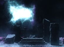 Ancient Sacred Ceremonial Temple Monument. A fictional image of an ancient temple remainings of pillar under sky`s nebula Stock Images
