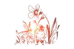 Fictional magical creatures, gnome and fairy, tiny dwarf with beard, cute pixie, imaginary fantastic heroes. Fairytale characters, fantasy fable concept sketch stock illustration