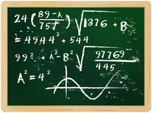 Fictional mathematics on chalkboard,. Fictional mathematics han drawn on chalkboard, vector illustration Stock Photos