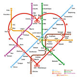 Fictional metro map in shape of heart. Vector illustration Royalty Free Stock Photo