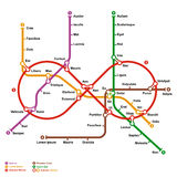Fictional metro map in shape of infinity. Vector illustration Stock Images