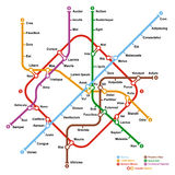 Fictional metro map. Vector illustration Stock Photo