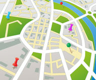 Fictional Perspective City Map. Editable  street map of a generic city with push pins Royalty Free Stock Images