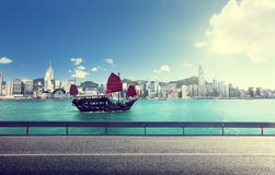 Fictional road in Hong Kong. Harbour Royalty Free Stock Photos