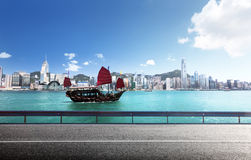 Fictional road in Hong Kong. Harbour Stock Photo