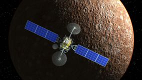Mercury on background, fictional observation satellite flies past, 3d animation. Texture of the Planet was created in