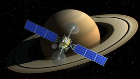 Saturn on background, fictional observation satellite flies past, 3d animation. Texture of the Planet was created in the
