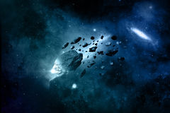 Fictional space background with meteorites Royalty Free Stock Images