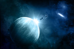 Fictional space background with meteorites. Space background with fictional planets , nebula and meteorites Stock Photography