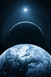 Fictional space with planets. Illustration of a fictional blue universe space with planets Royalty Free Stock Photography
