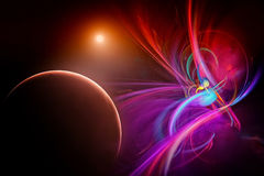 Fictional space with planets. Illustration of a fictional universe space with planets Stock Image