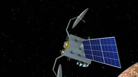 Fictional space satellite is approaching Mercury, 3d animation. Texture of the Planet was created in the graphic editor