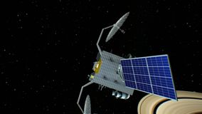 Fictional space satellite is approaching Saturn, 3d animation. Texture of the Planet was created in the graphic editor