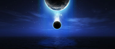 Fictional space scene. 3D render of fictional space scene over the ocean in widescreen Stock Photo