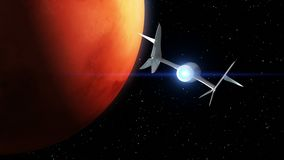 Mars on the background. Fictional spaceplane flies past Planet. Concept of spaceship for space tourism. 3d animation. Fictional spaceplane flies past Mars stock footage