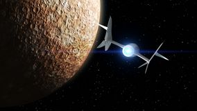 Mercury on the background. Fictional spaceplane flies past Planet. Concept of spaceship for space tourism. 3d animation
