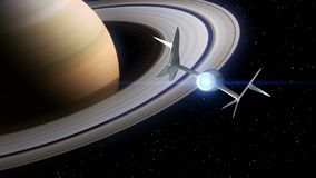 Saturn on the background. Fictional spaceplane flies past Planet. Concept of spaceship for space tourism. 3d animation