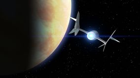 Venus on the background. Fictional spaceplane flies past Planet. Concept of spaceship for space tourism. 3d animation. Fictional spaceplane flies past Venus stock footage