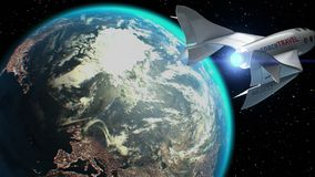 Fictional spaceplane on orbit of Earth, concept of spaceship for space tourism, 3d animation. Texture of Earth was