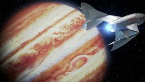 Fictional spaceplane on orbit of Jupiter, concept of spaceship for space tourism, 3d animation. Texture of the Planet. Fictional spaceplane on orbit of Jupiter stock footage