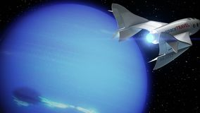 Fictional spaceplane on orbit of Neptune. Concept of spaceship for space tourism, 3d animation. Texture of the Planet was created in the graphic editor without stock footage