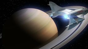 Fictional spaceplane on orbit of Saturn, concept of spaceship for space tourism, 3d animation. Texture of the Planet was