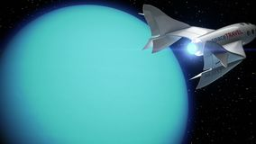 Fictional spaceplane on orbit of Uranus. Concept of spaceship for space tourism, 3d animation. Texture of the Planet was created in the graphic editor without stock video