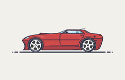 Fictional sport car. Line vector illustration. Red muscle car in cope body like 90-x design. Big wheels and long hood with air intake Royalty Free Stock Photo