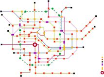 Fictional subway map, free copy space, vector. Fictional subway map, public transporation map, free copy space Stock Photos