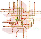 Fictional subway map. Public transport map, free copy space Royalty Free Stock Images