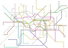 Fictional subway map, public transportation map. Free copy space, isolated on white stock illustration