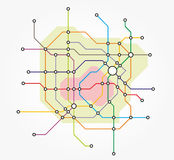 Fictional underground map. Fictional map of the transport network of a city Royalty Free Stock Photography