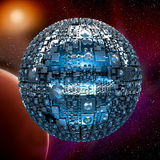Fictional universe with space battle ship. Illustration of a fictional universe with space battle ship and planets Royalty Free Stock Photography