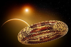 Fictional universe with space ship. Illustration of a fictional universe with space ship and planets Royalty Free Stock Image