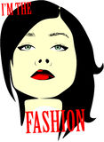 Fictional woman  with `I`m the Fashion` inscription Royalty Free Stock Photo