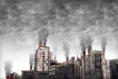 Fictitious city. Apocalyptic cityscape. Digital illustration Royalty Free Stock Photo