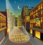 Fictitious city street at night with searchlight space for your message Royalty Free Stock Images